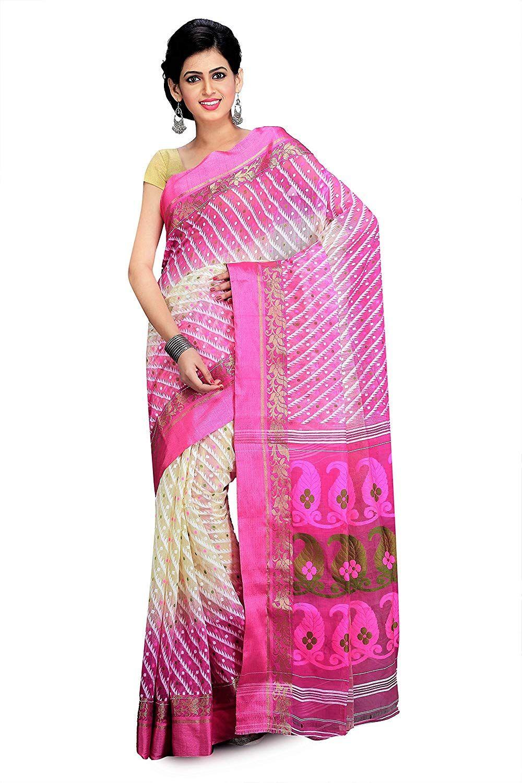 669be7c03a6 Mayurakshi Woven Traditional Embroidered Handloom Linen-Cotton Blend Dhakai  Jamdani Saree