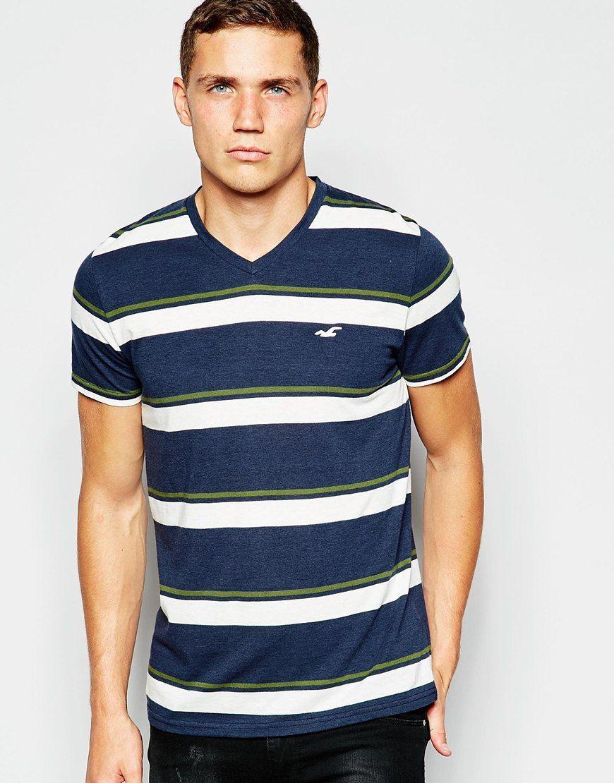 Imagen 1 de Camiseta de cuello pico con rayas multicolor de Hollister 89efd95ccf494