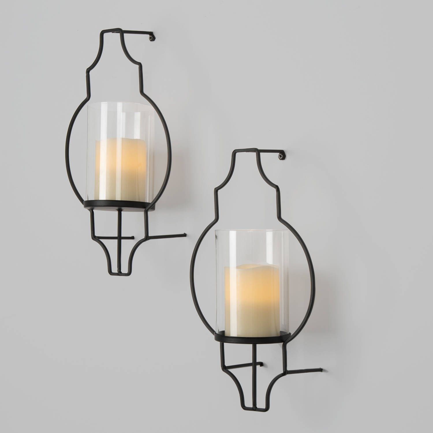 Hurricane Glass Flameless Candle Wall Sconce with Remote ... on Non Electric Wall Sconces For Candles id=35254