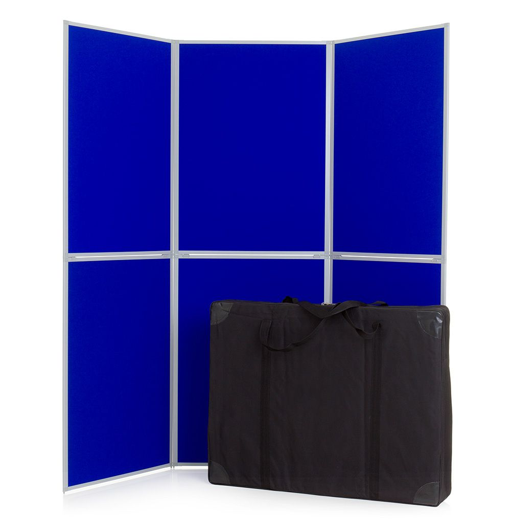 6 Panel Aluminium framed portable display boards stands + bag + Velcro. XL Displays UK.