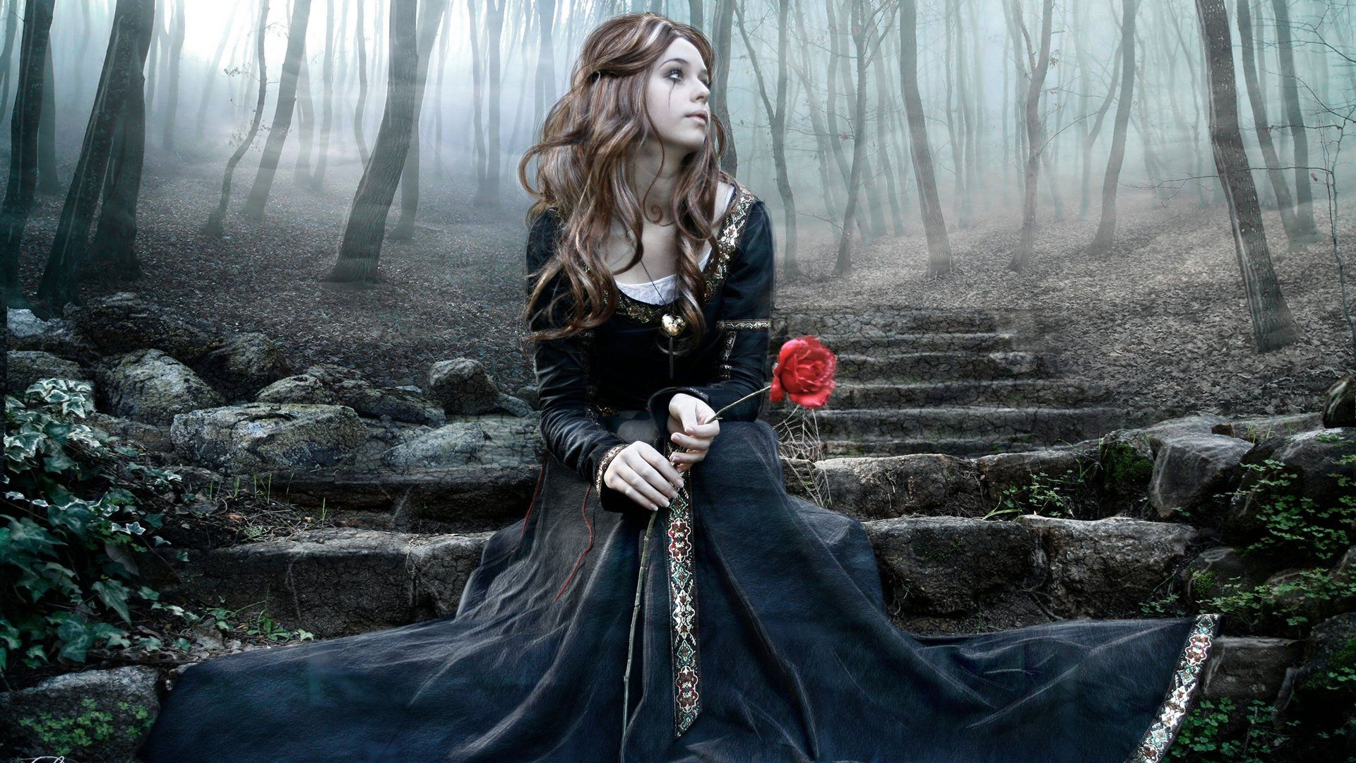 Foresi mobili ~ Wallpaper wallpapers girl artistic gothic woods goodfon image wolf