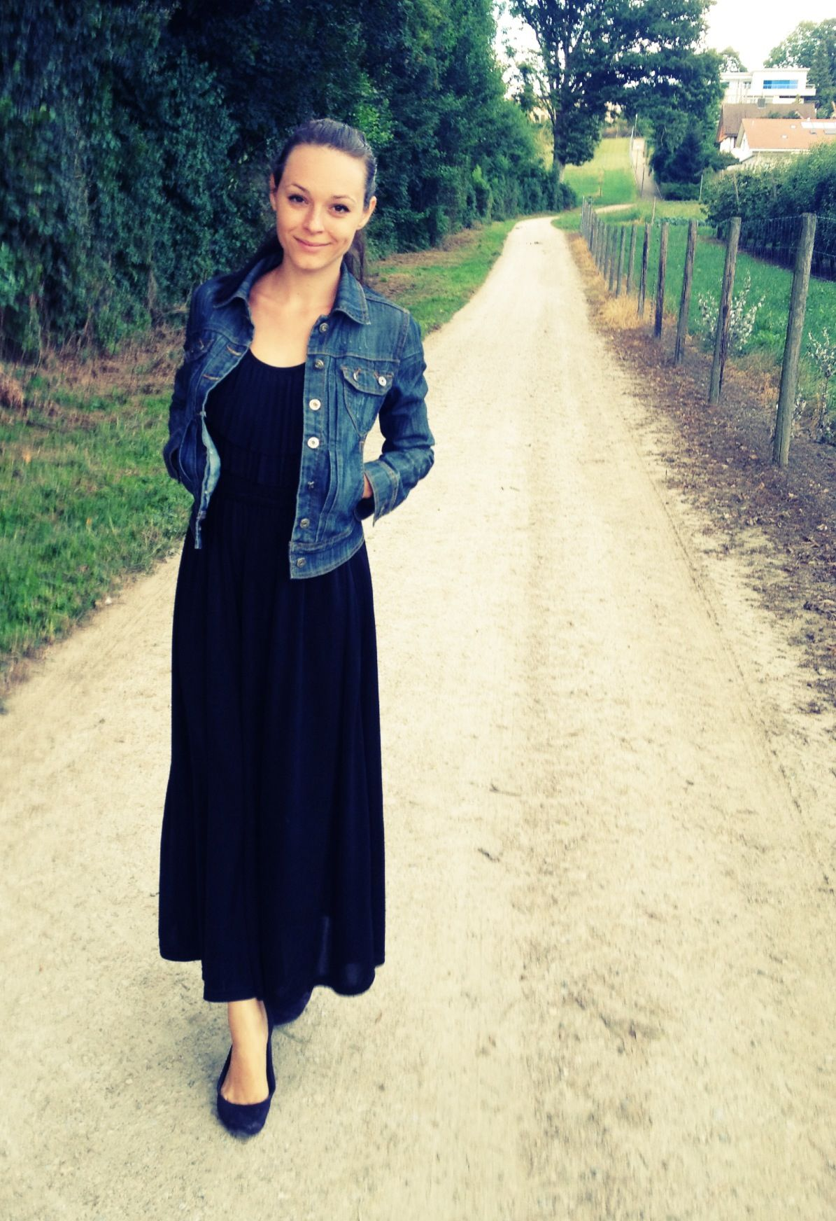 Pin By Emi C On My Style Outfits Fashion Denim Jacket With Dress Long Black Dress [ 1744 x 1195 Pixel ]