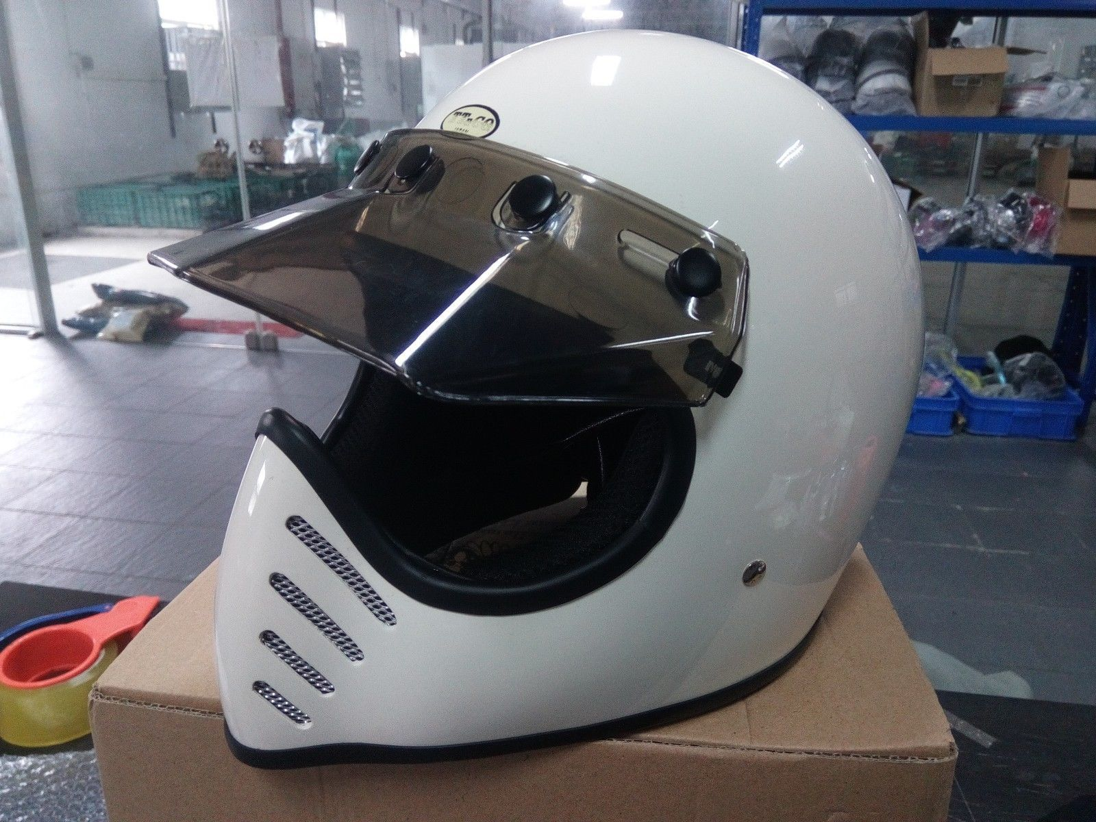 Japan Street Vintage Full Face Motorcycle Helmet 5 Snap White Full Face Motorcycle Helmets Helmet Motorcycle Helmets