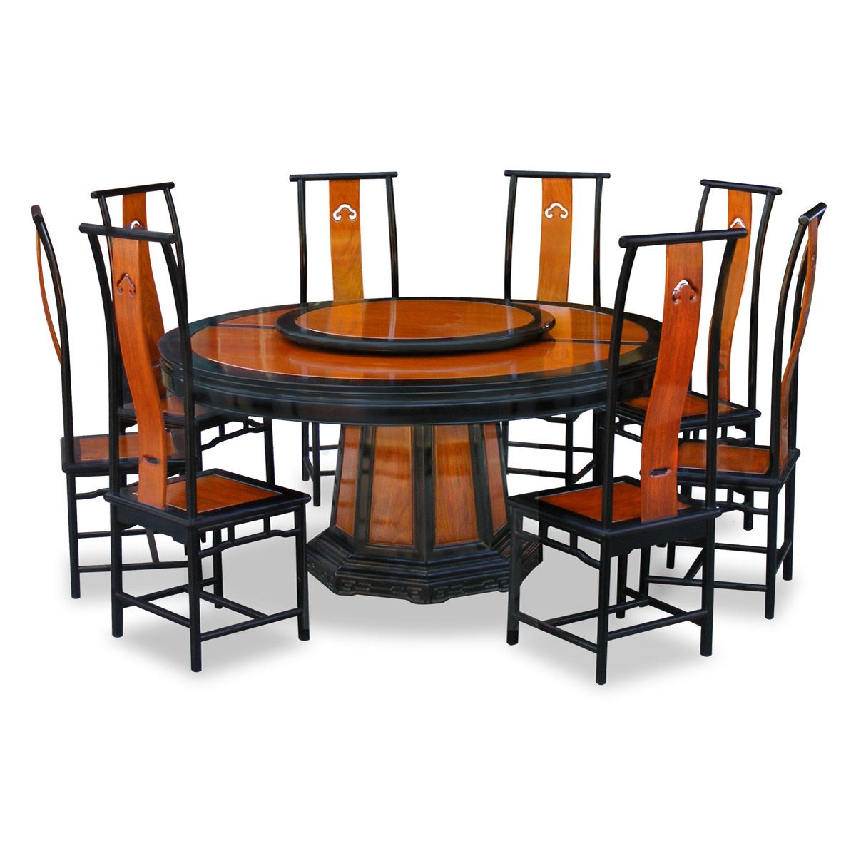 Oriental Dining Table: Black Trim Natural Finish Rosewood Ming Round Dining Set