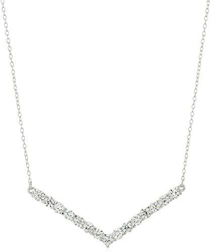Photo of Enjoy exclusive for .925 Sterling Silver Cubic Zirconia  Multi-Gemstone Chevron Pointed V Bar Suspended Pendant Necklace, 16 + 2 Extender – Choice  Colors online – Newofferclothing