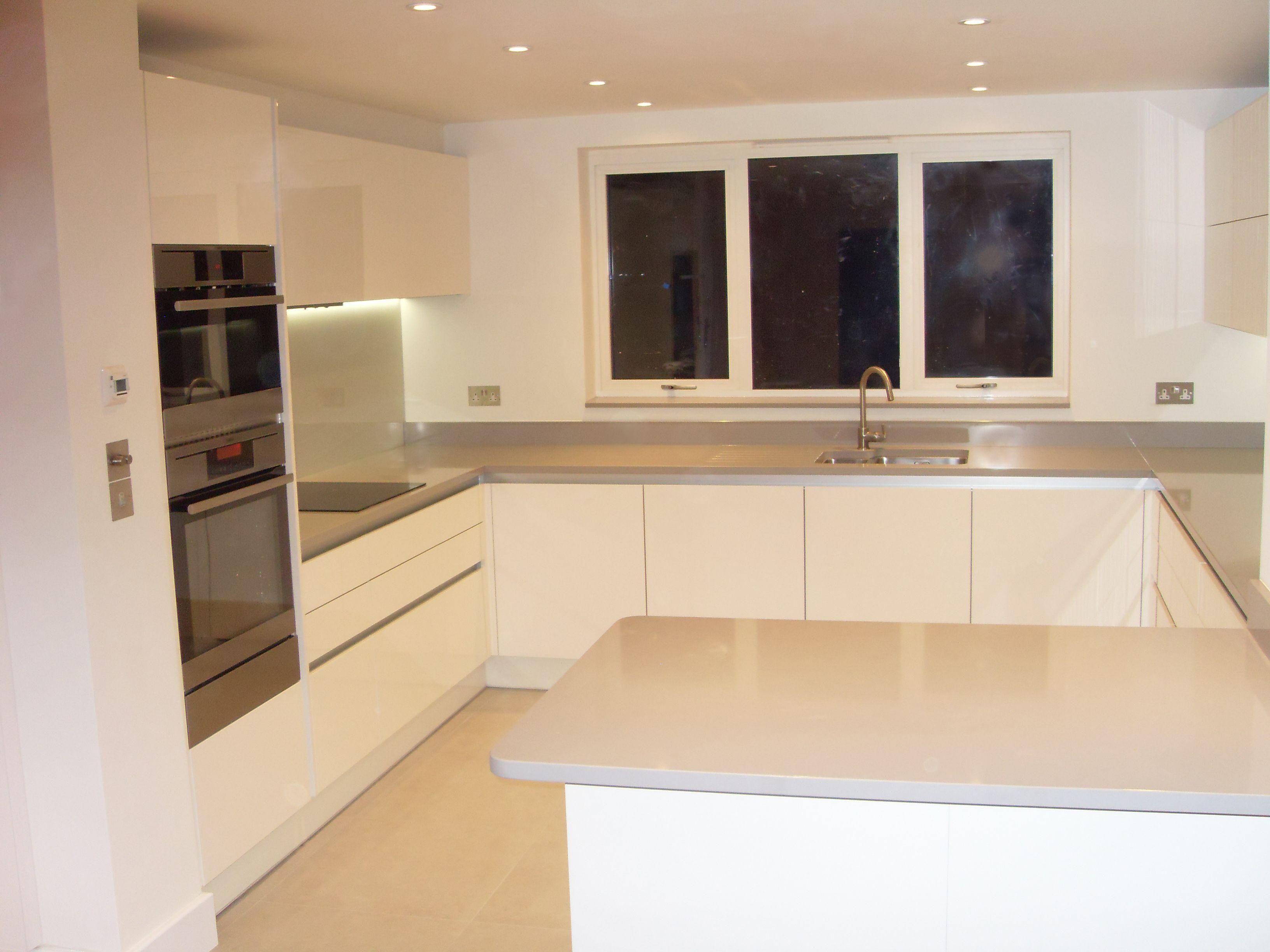 German Style Gloss White Handless Kitchen Extension IdeasSweet
