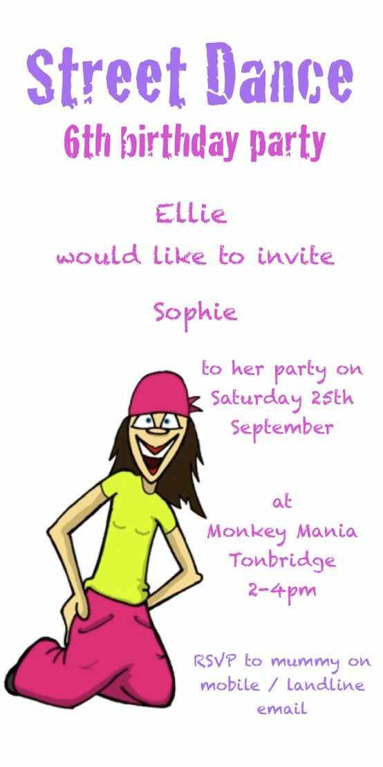 Street Dance party invitation, from £6.25 per 10 invitations ...