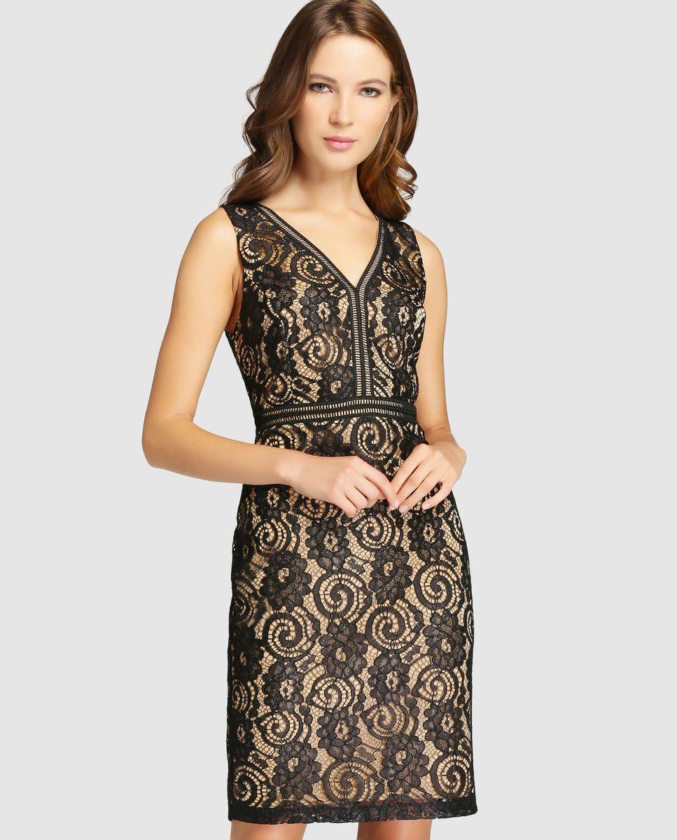 646e72145 Vestido corto de mujer Fiesta El Corte Inglés con encaje negro ...