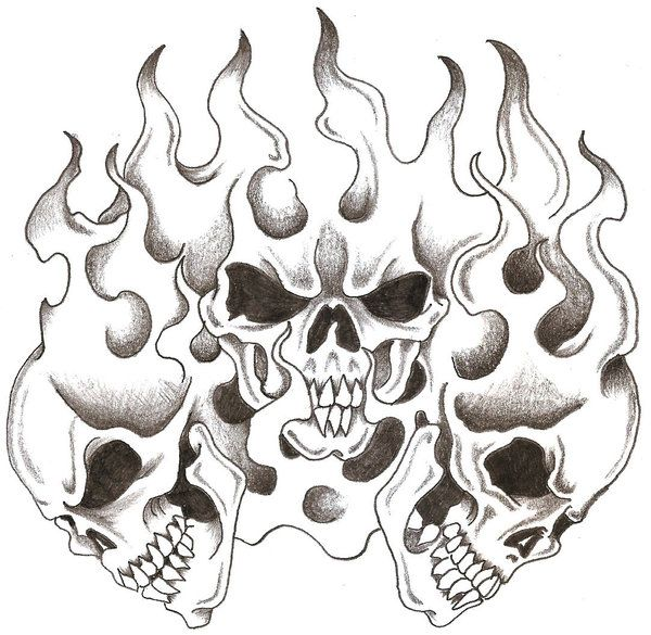 Skulls And Flames By Thelob On Deviantart Skulls Drawing Skull Coloring Pages Skull Art Tattoo