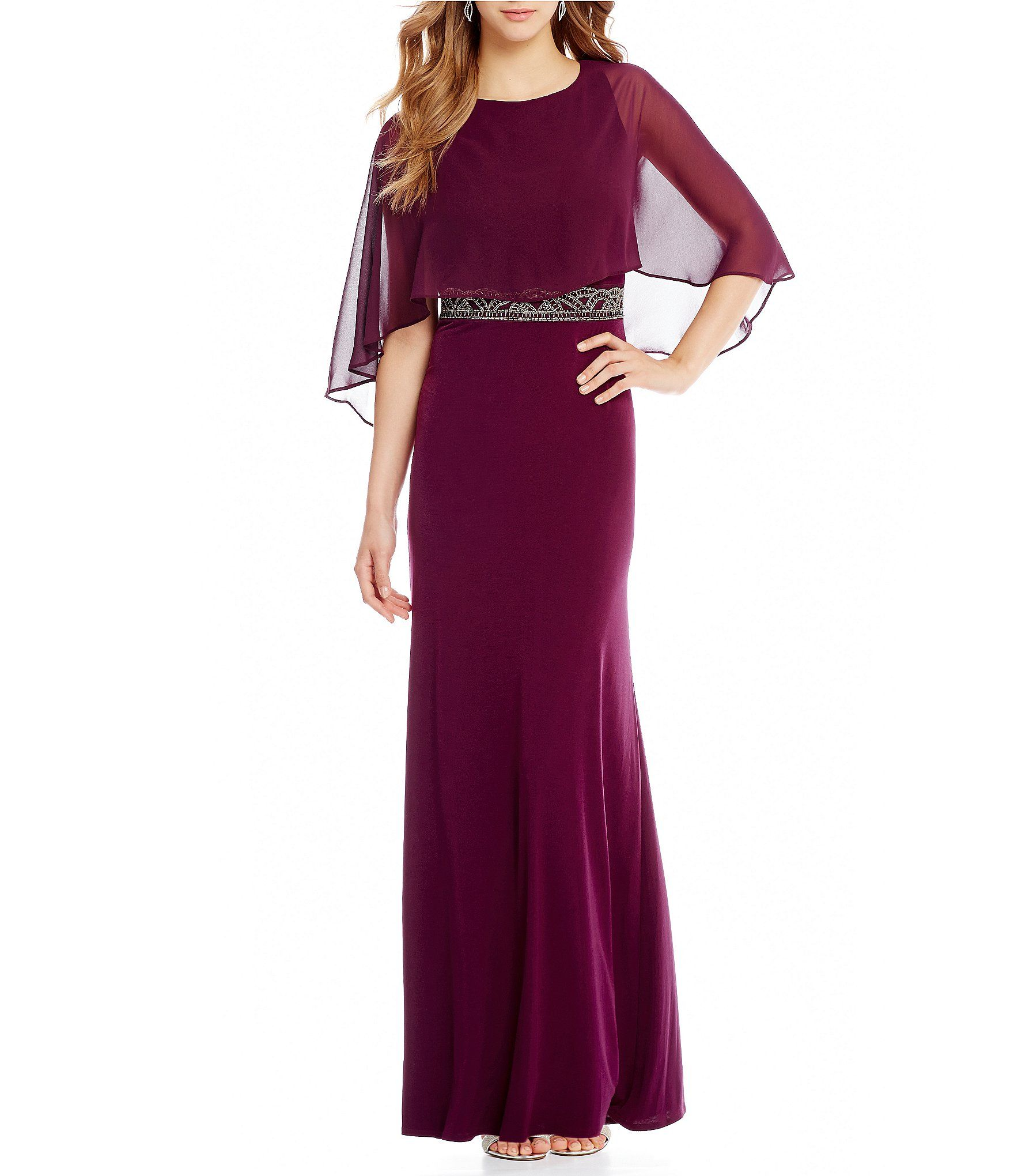 Sangria Chiffon Cape Gown #Dillards | Bridal party | Pinterest ...