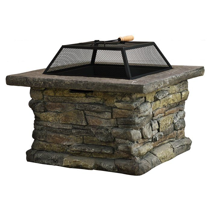 Colton Concrete Wood Burning Fire Pit Table Wood Fire