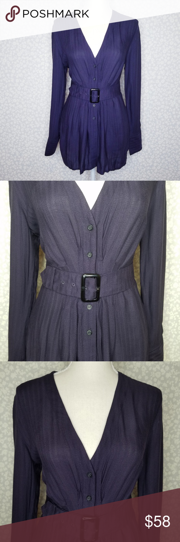 5b94db5aed5 NWT Free People Purple Button Down Blouse Belt Measurements (laid flat    approximate)