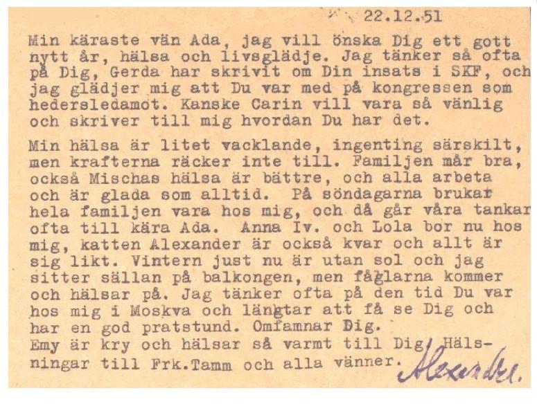 Madame Alexandra Kollontai Letter In Swedish 1951
