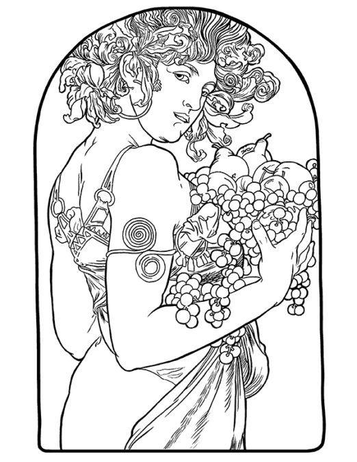 - Alphonse Mucha Coloring Page: Fruit Art Nouveau Illustration, Mucha Art,  Art Nouveau Mucha