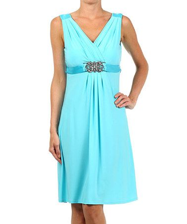 Look what I found on #zulily! Teal Embellished Surplice Dress #zulilyfinds