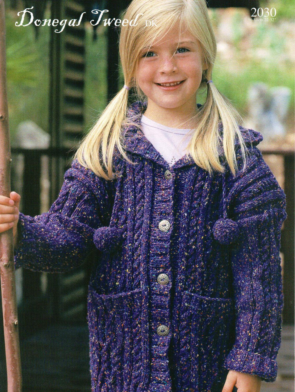 Girls aran coat knitting pattern pdf childrens hooded coat cable girls aran coat knitting pattern pdf childrens hooded coat cable cardigan with hood 22 32inch dk light worsted 8ply pdf instant download dt1010fo