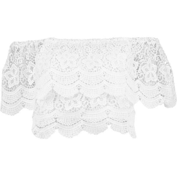 Tia Crochet Lace Frill Bardot Top (€20) ❤ liked on Polyvore featuring tops, frill top, ruffle top, white flounce top, white top and white ruffle top