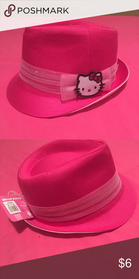 """b50abb875 Little girls Hello Kitty """"DON'T MIND IF I DO HAT""""! Pretty in pink hat with  a kitty picture and a sheer ribbon around it! Hello Kitty Accessories Hats"""