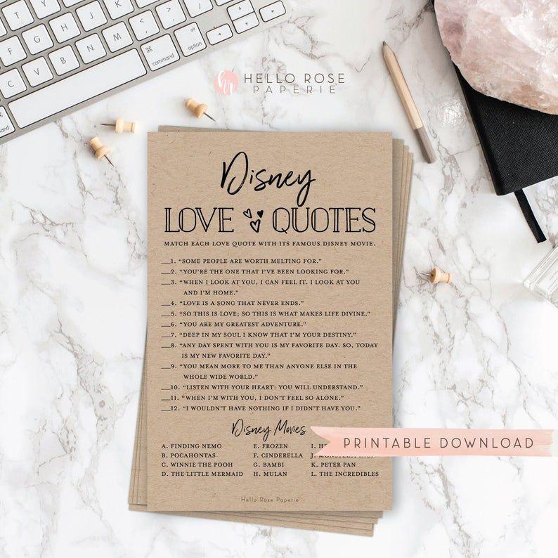 Famous Movie Love Quotes Game \u2022 Rustic Bridal Shower Printable \u2022 Wedding Shower Games \u2022 Instant Digital Download \u2022 Print51