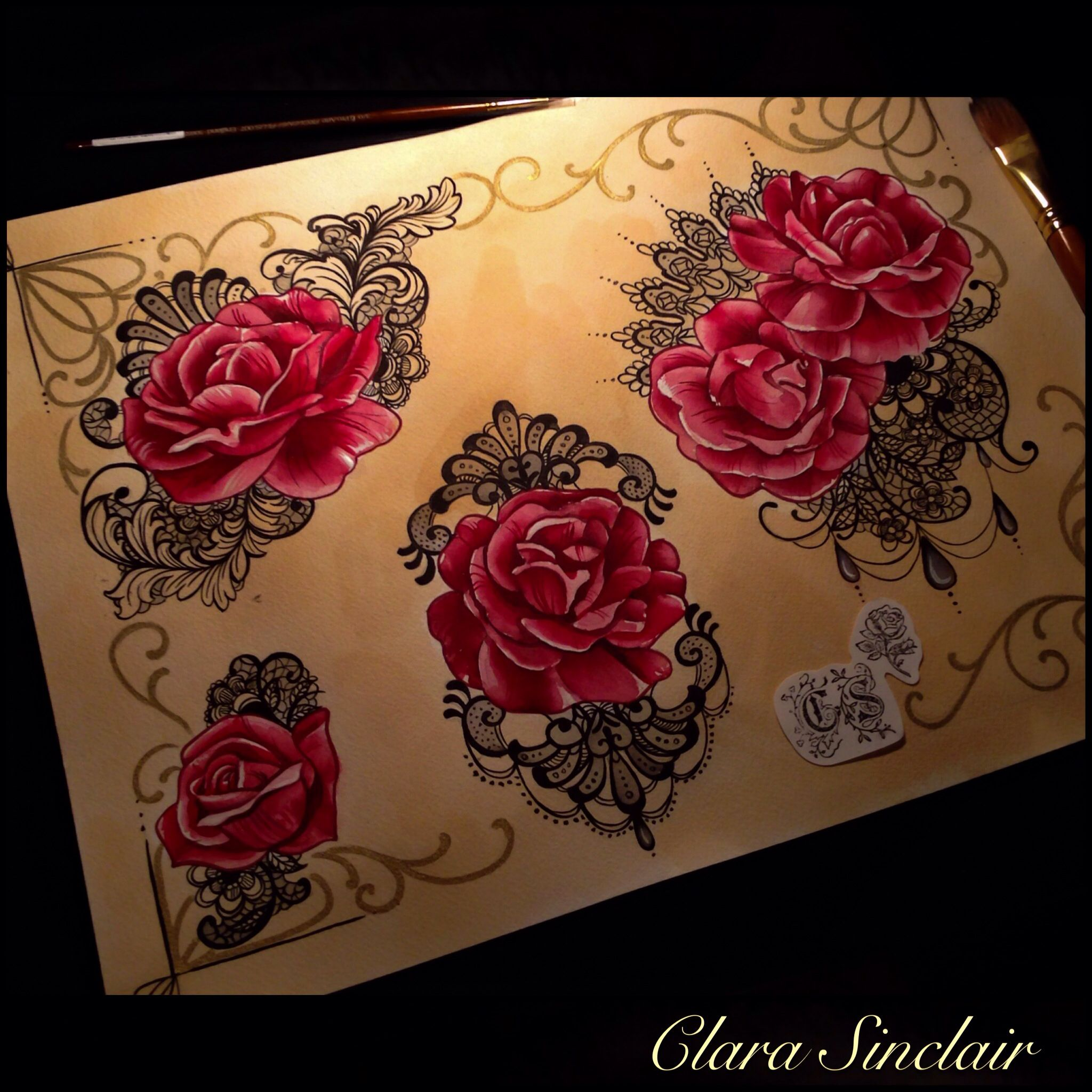 roses and lace flash set by clara sinclair tattoos