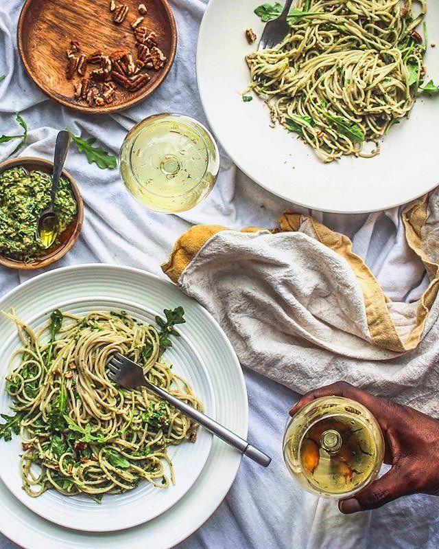 Arugula, pecan, and avocado pesto with brown rice pasta