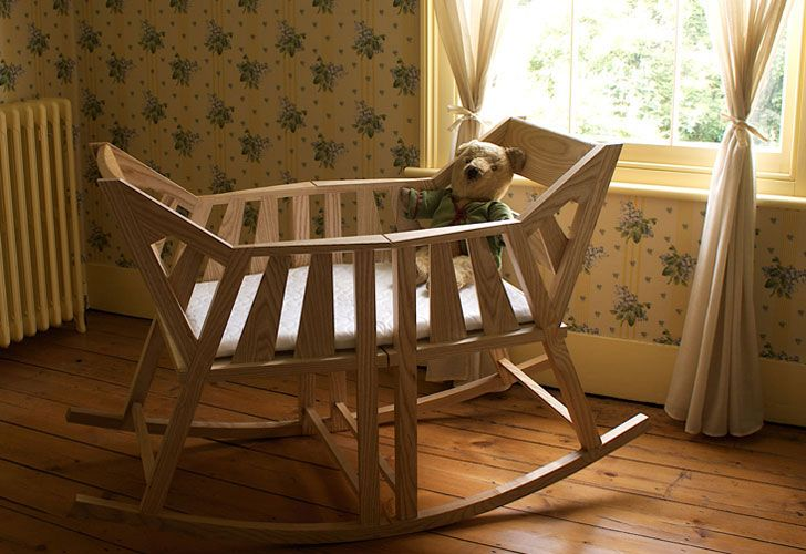 Baby\'s Rocking Cradle by Martin Price Transforms Into Two Rocking Chairs