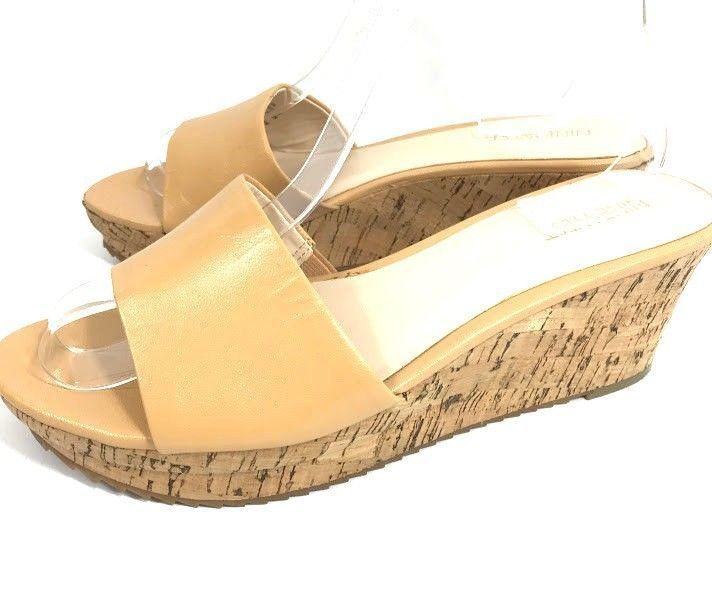 41e01b0d22a Nine West Confetty Womens Platform Sandals Size 8 M Beige Leather Cork  Slides  NineWest  Slides