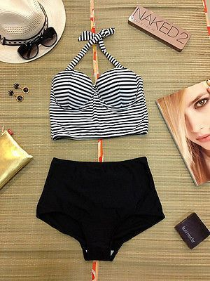 dbbc7f284ed7 Vintage Traje De Baño Pin Up Girl Rockabilly Negro Cintura Alta Bikini Retro  Nuevo Talla S
