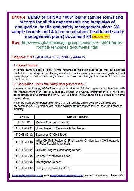 OHSAS 18001 sample forms document kit covers sample copy of blank - manual handling risk assessment
