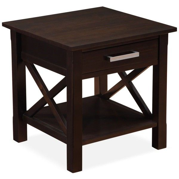 Simpli Home Rockville End Table ($139) ❤ Liked On Polyvore Featuring Home,  Furniture, Tables, Accent Tables, Dark Walnut Brown, Brown Furniture, Brown  End ...