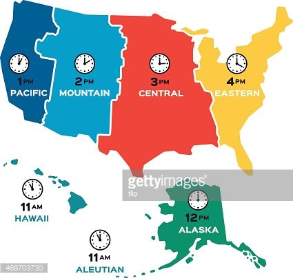 United States time zone flat design concept map. Each time ...