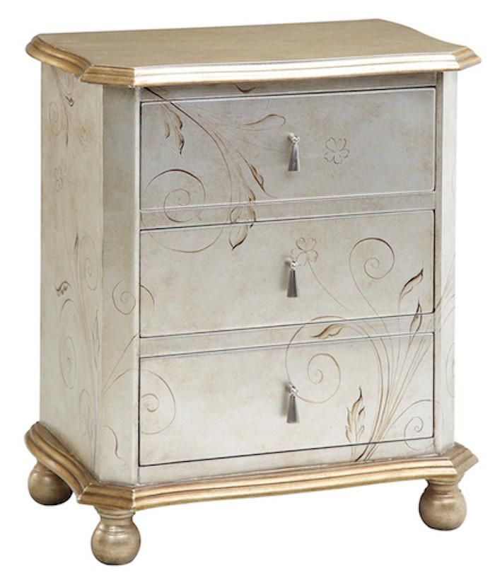Best 64702 Celeste Silver Gold Accent Chest 3 Drawer Chest 400 x 300