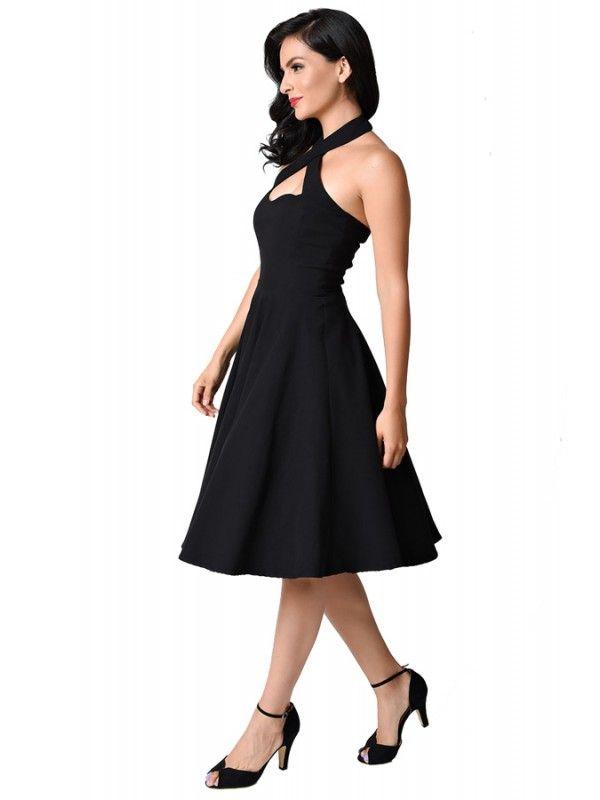 47e55f39294 Unique Vintage Women s 1950s Style Black Rita Halter Flare Dress