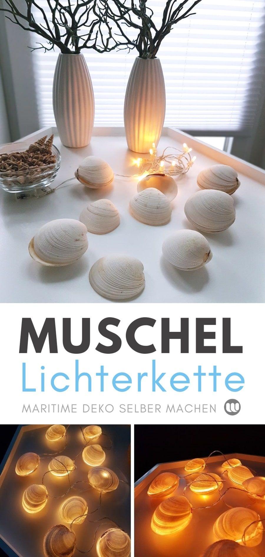 Maritime Muschel-Lichterkette: 2 Bastelideen mit Muscheln