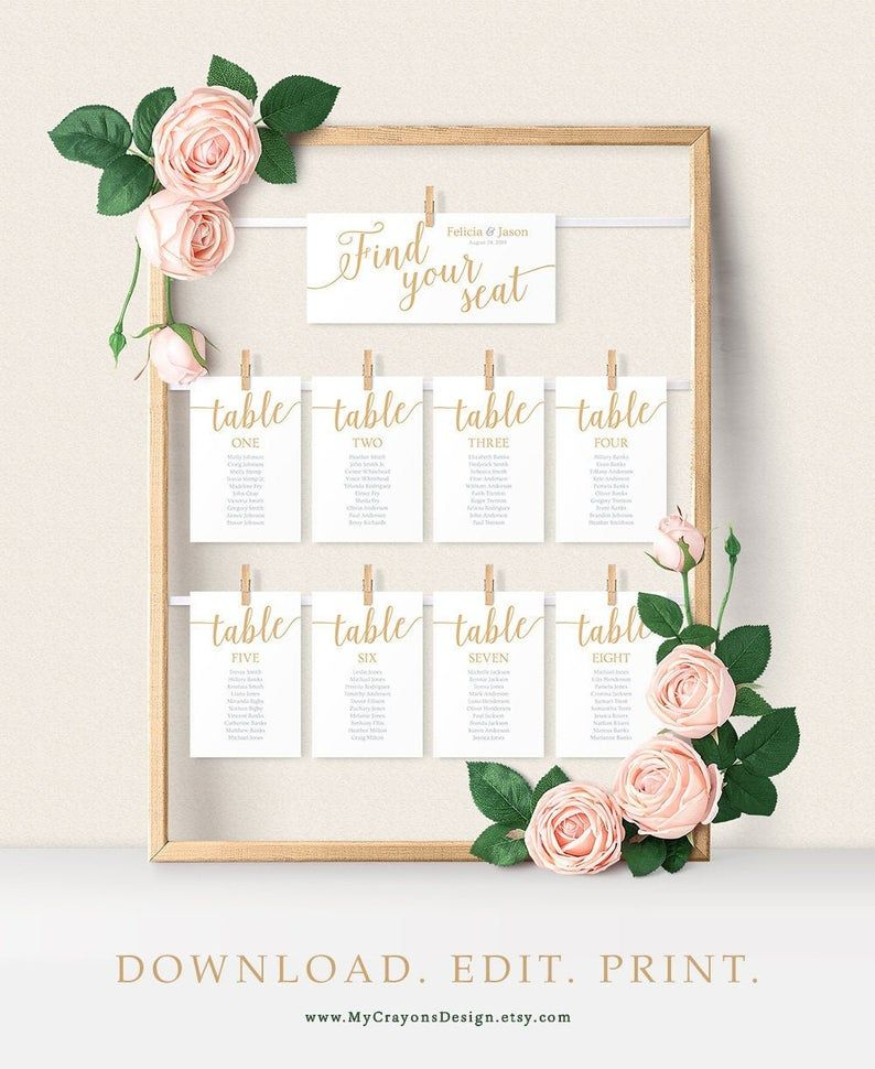 Wedding Seating Plan Cards Seating Chart Cards Gold Seating Chart Template Printable Instant Download Seating Chart Wedding Seating Plan Wedding Wedding Seating Cards
