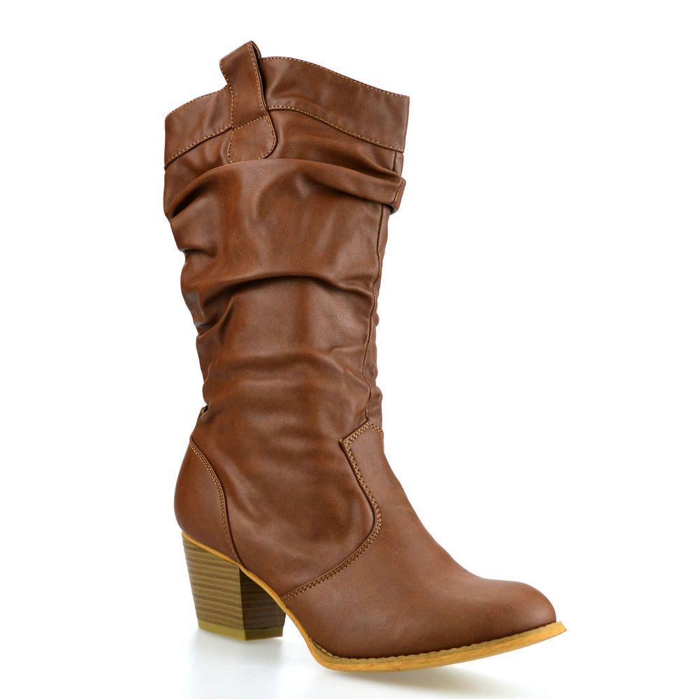 4c5128b3d Ladies Womens Mid Calf Block Heel Winter Riding Cowboy Biker Boots Shoes  Size