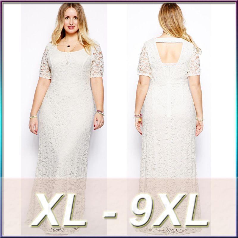 2016 hot sale white black large dress women\'s plus size 6XL lace ...