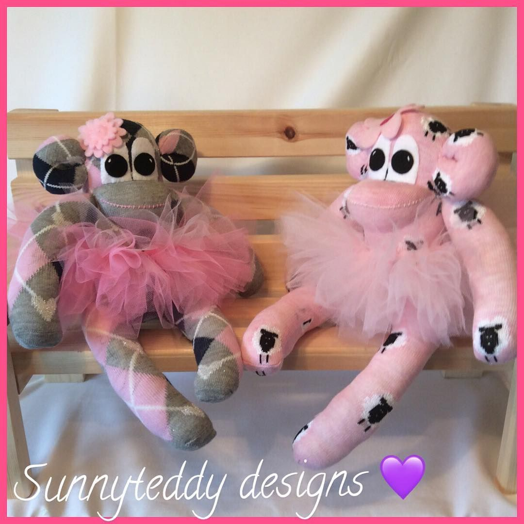 """16 Likes, 1 Comments - Julie Scollick (@juliescollick) on Instagram: """"Sitting on the bench tutu #tutu #bench #sockmonkeys #cute #happyday #madewithsocks #sweet #pink…"""""""