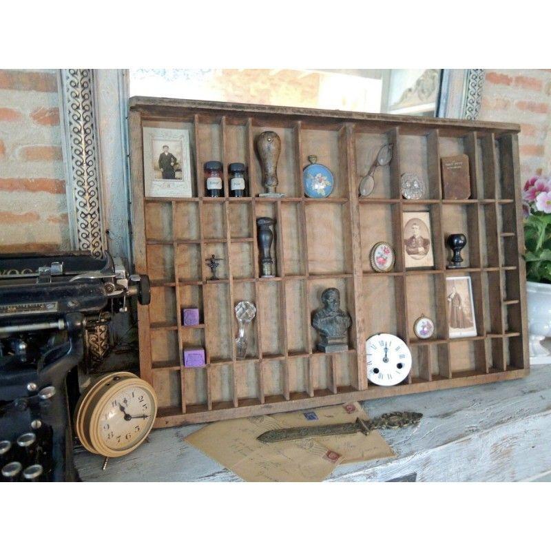 ancien tiroir casier d 39 imprimeur en bois pour collection objets insolites souvenirs esprit. Black Bedroom Furniture Sets. Home Design Ideas