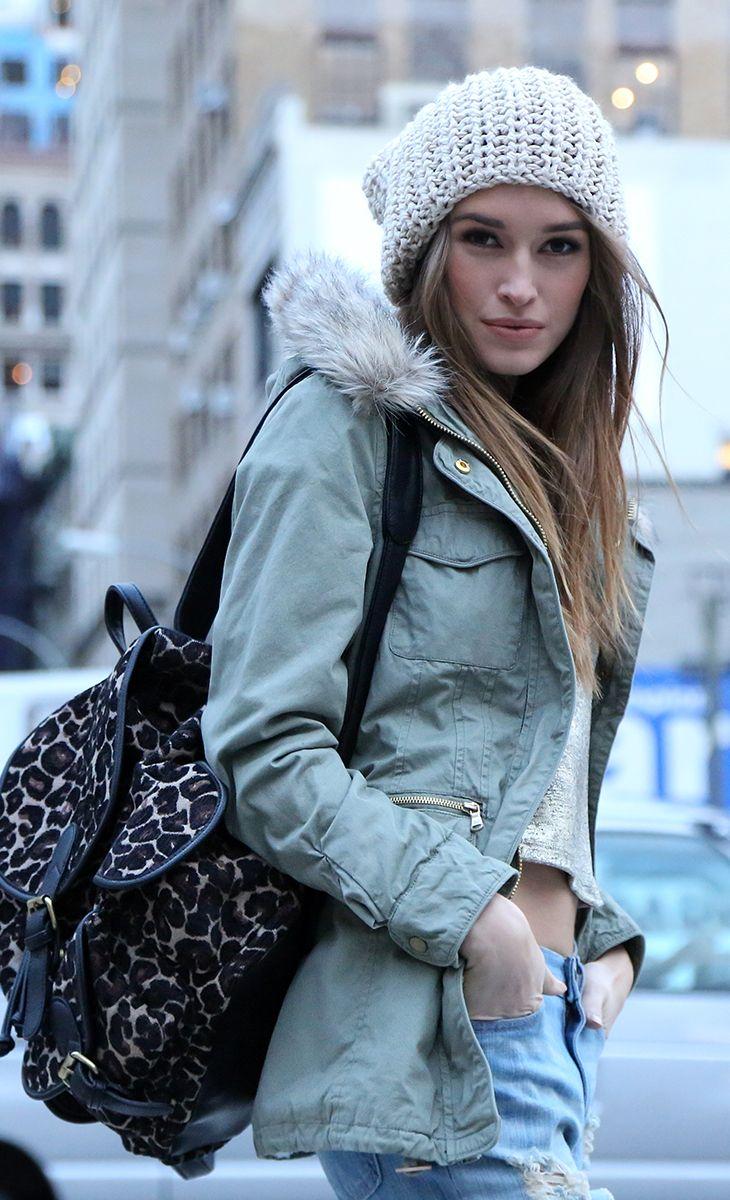 cute beanie and faux fur hooded coat