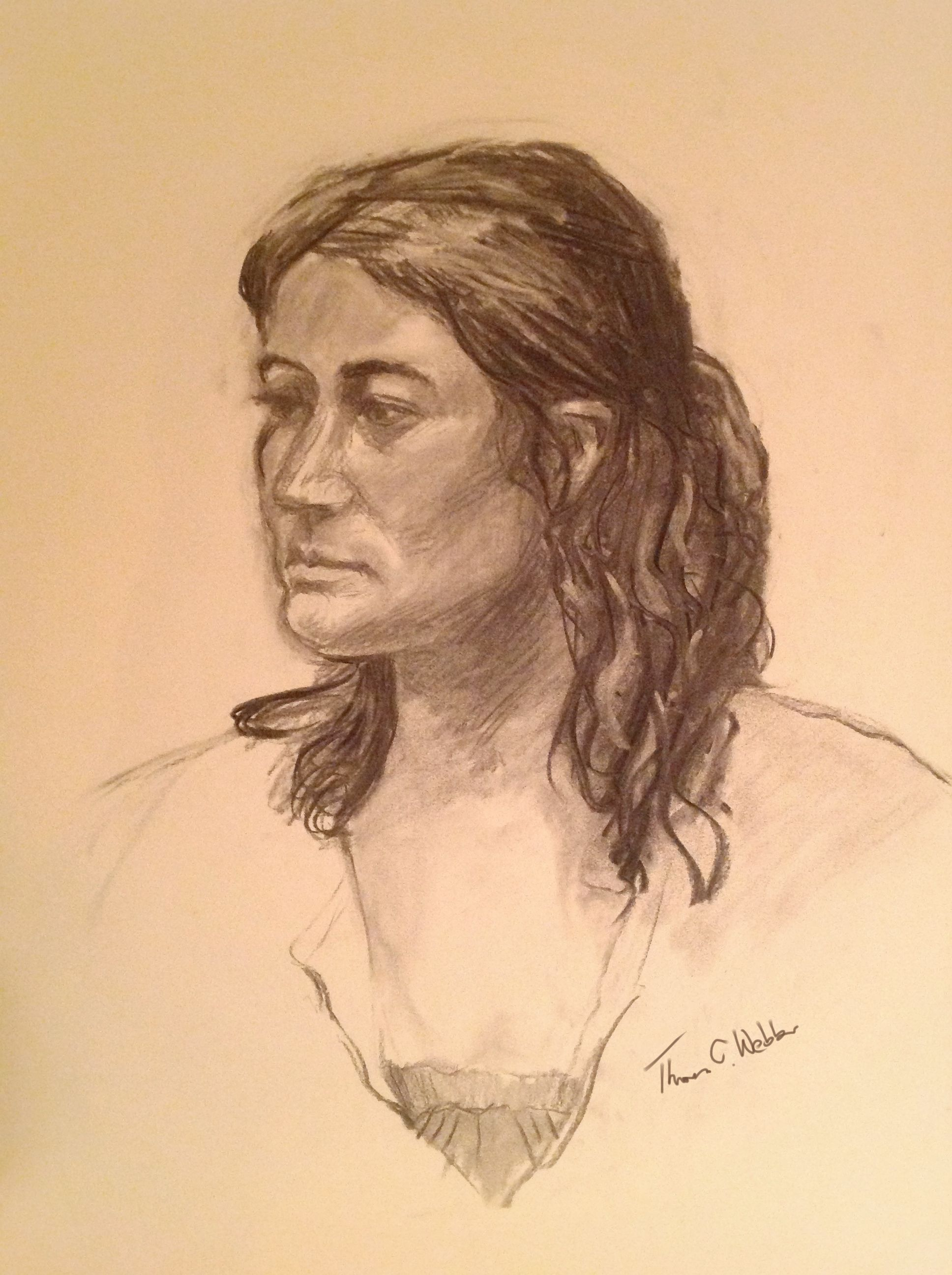 Portrait of a young woman. (Charcoal by Tom Webber)