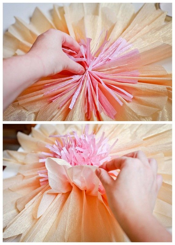 Tutorial how to make giant paper flowers for a wedding or for Crepe paper wall flowers