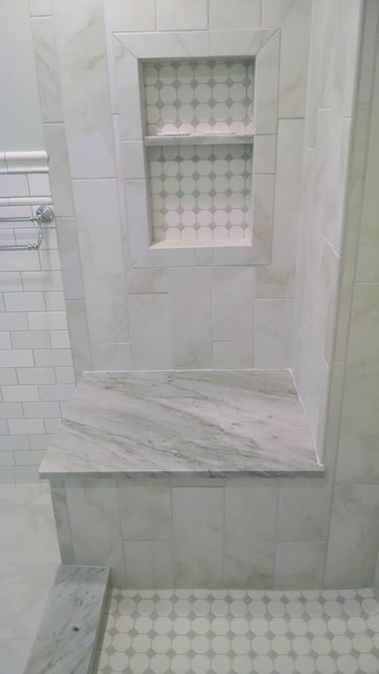 Nailedit master bathroom reveal marble look tile faux for Master bathroom grey tile