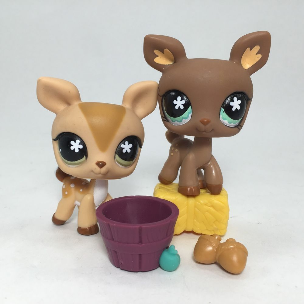 Littlest Pet Shop Lps Lot Of 2 Fawn Deer Reindeer With Accessories