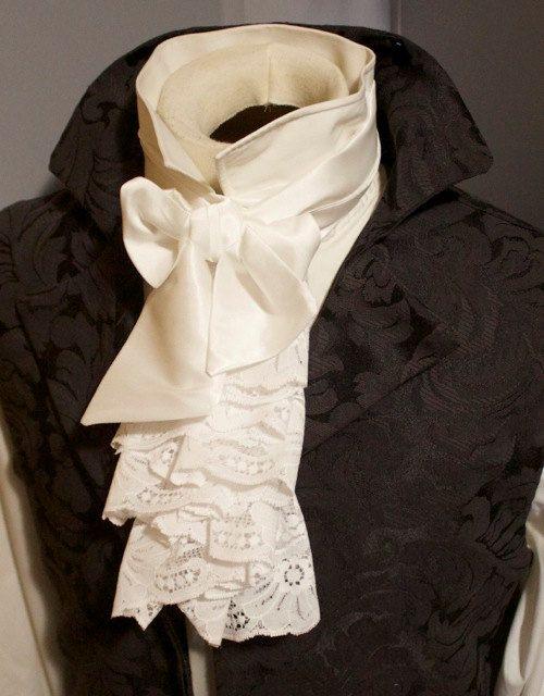 8390d490e20b4c Fancy Historic Victorian White JABOT - Lace self tie Regency Ascot Cravat  Necktie