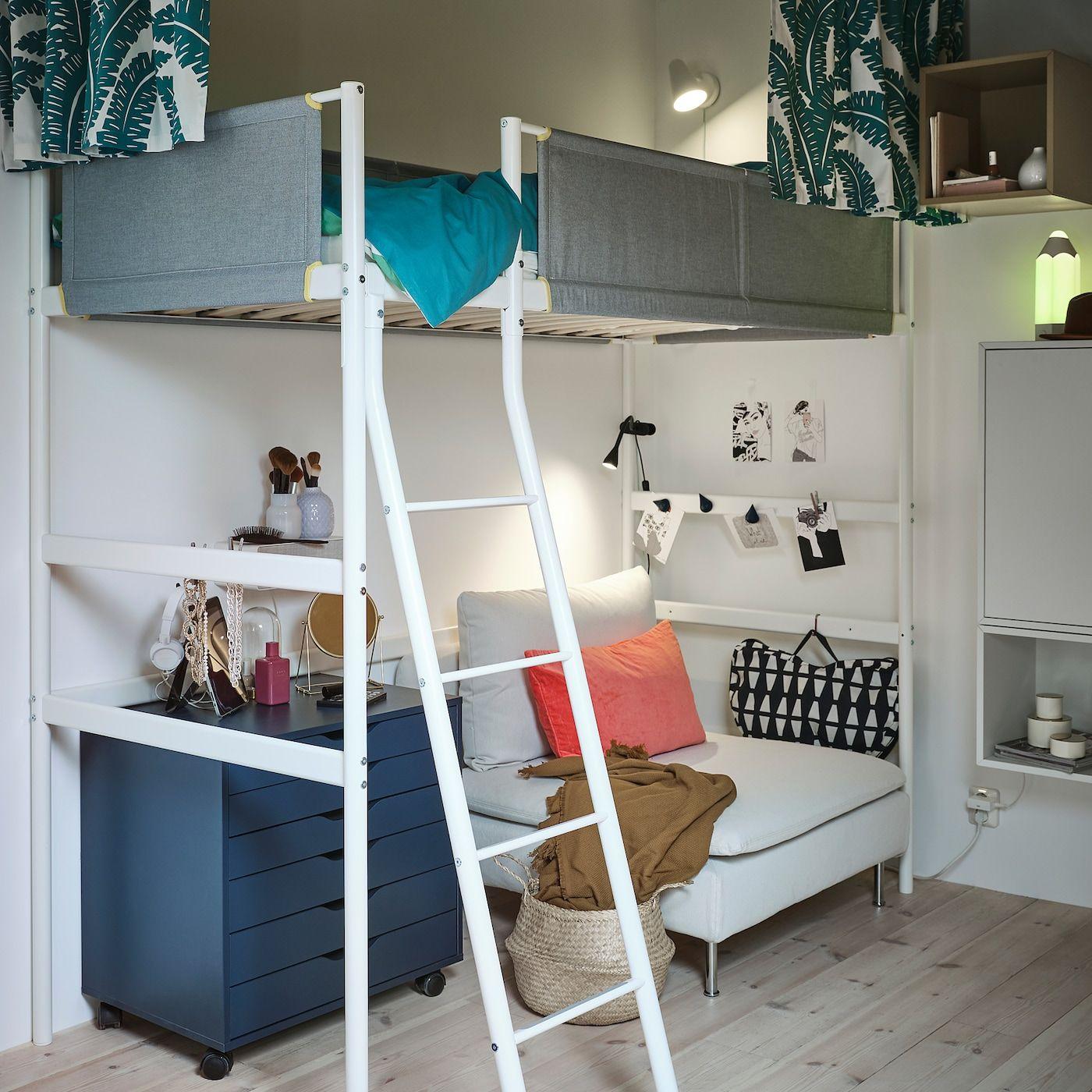 VITVAL Højsengestel, hvid, lysegrå, 90x200 cm IKEA in