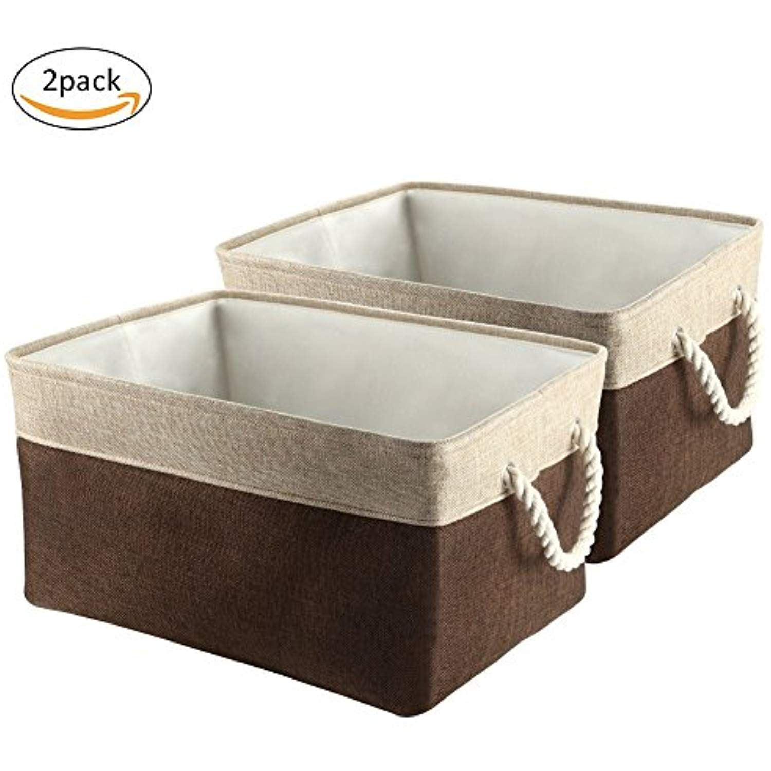 Collapsible Storage Bins, IdealHous Large Foldable Fabric Storage Cubes  Laundry Basket With Cotton Rope Handles For Kidu0027s Toys Books [2 Pack] ***  Continue ...