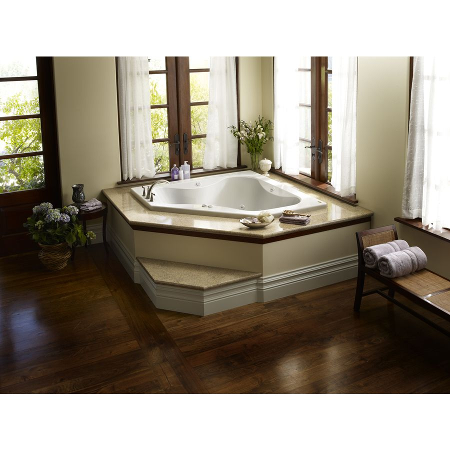 Jacuzzi in master bedroom  Shop Jacuzzi Primo Person White Acrylic Corner Whirlpool Tub