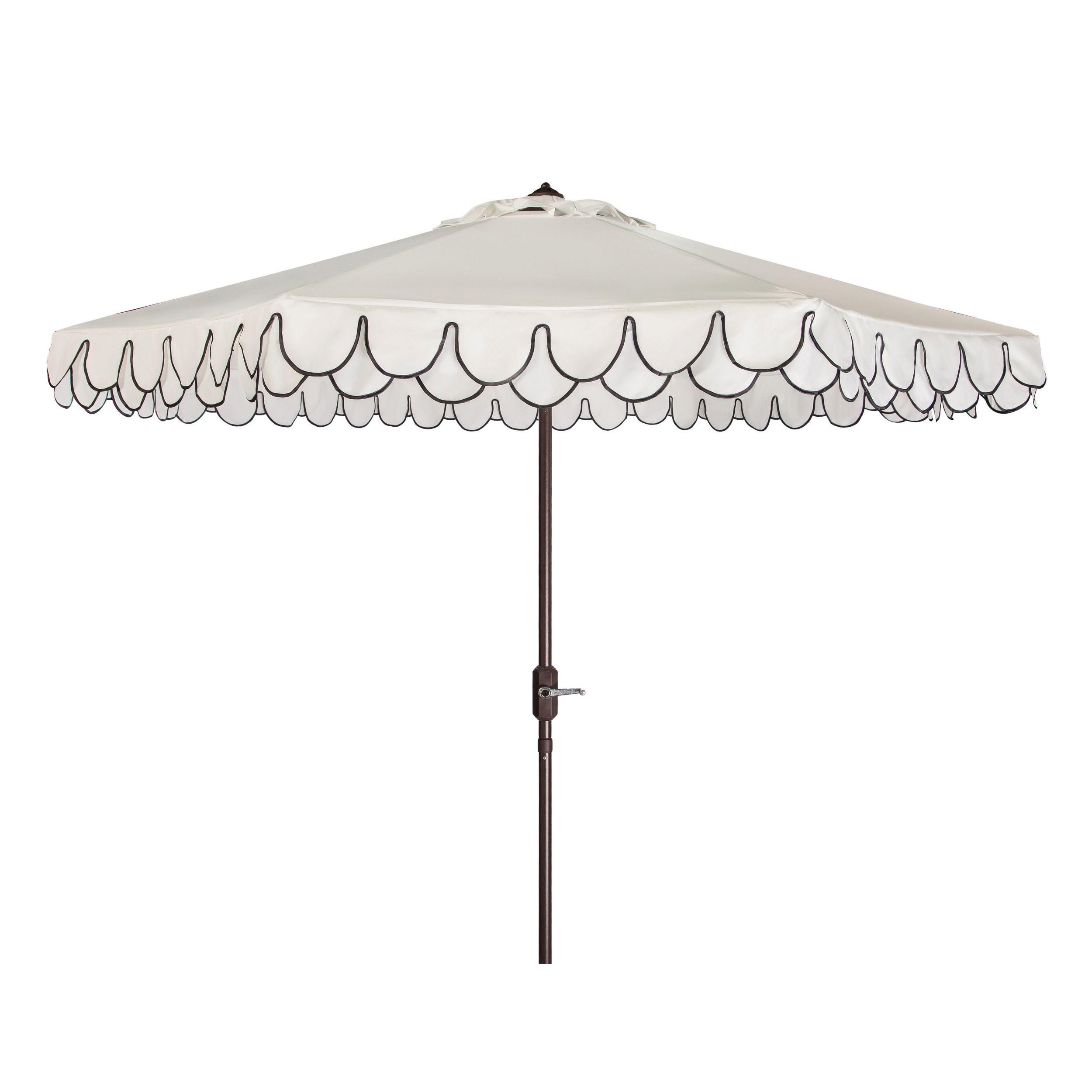 Safavieh Elegant Valance 9 Ft White Black Umbrella PAT8006E