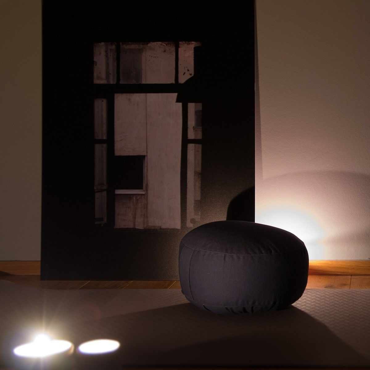 My beautiful meditation pillow and yogamat in my little studio
